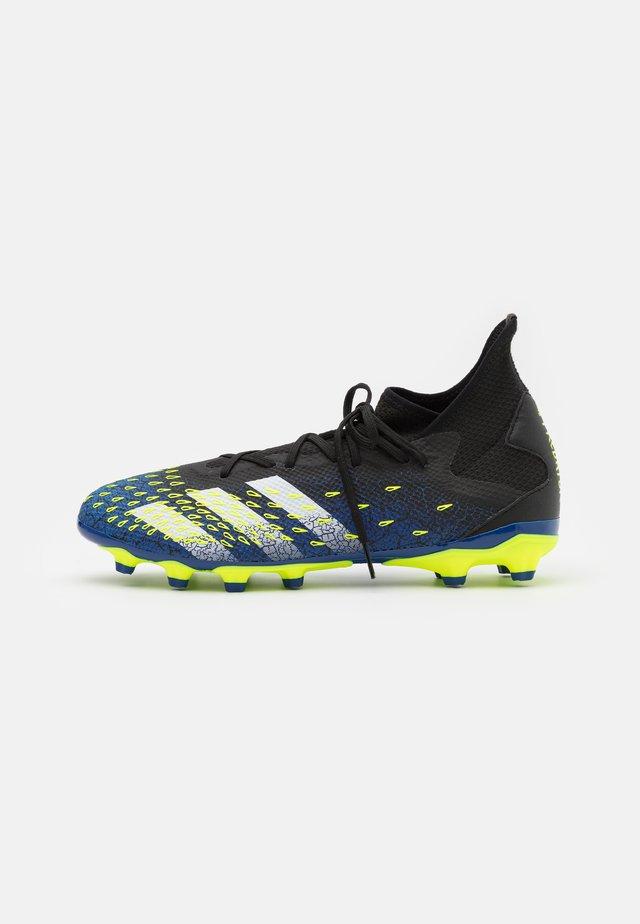 PREDATOR FREAK .3 MG - Fodboldstøvler m/ faste knobber - core black/footwear white/solar yellow