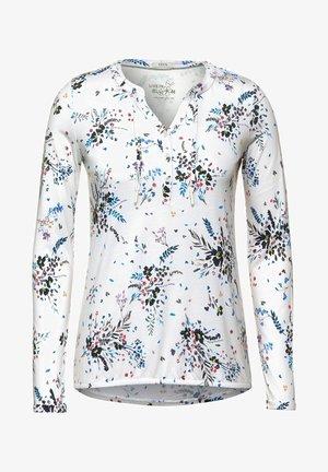 MIT BLUMENMUSTER - Long sleeved top - weiß