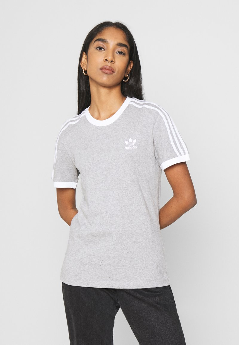 adidas Originals - 3 STRIPES TEE - Print T-shirt - medium grey heather