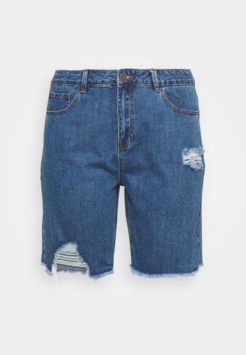 EXTREME RIPPED CITY  - Denim shorts - dark vintage
