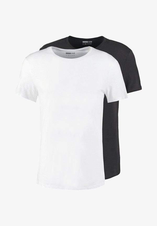 Pier One 2 PACK - T-shirt basic - white/black/biały Odzież Męska AFLX