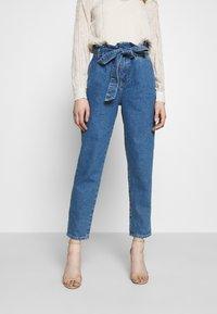 ONLY - ONLJANPAPERBAG BELT - Jeans slim fit - dark blue denim - 0