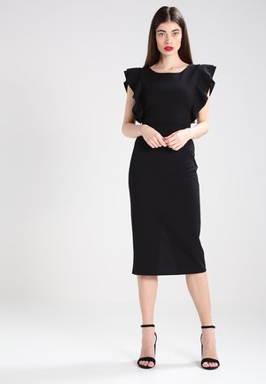 FLUTTER SLEEVE FITTED DRESS  - Pouzdrové šaty - black