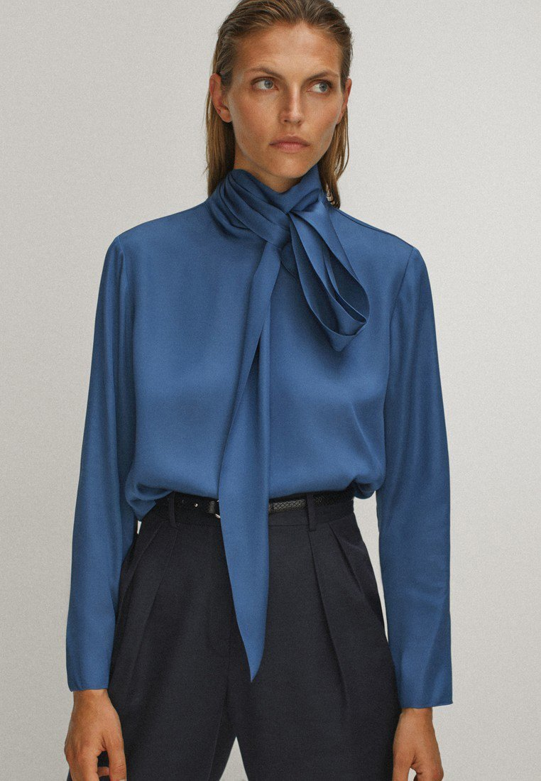 Massimo Dutti - WITH TIE DETAIL - Blouse - blue