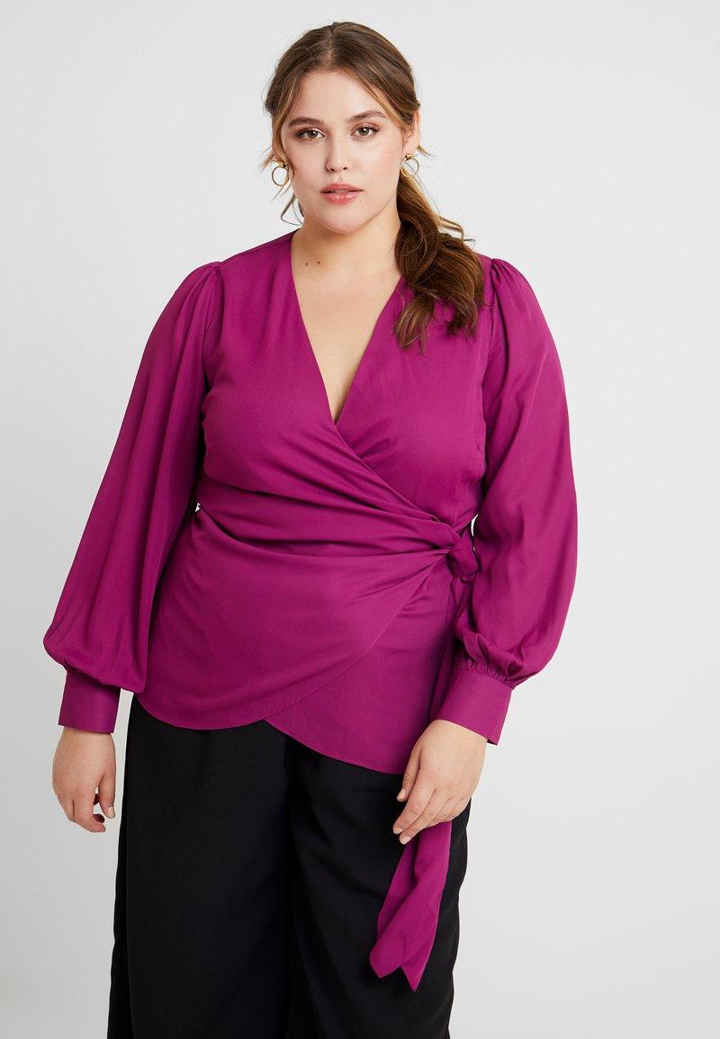 Fashion Union Plus - FASHION UNION WRAP WITH SIDE KNOT DETAIL - Blouse - cranberry