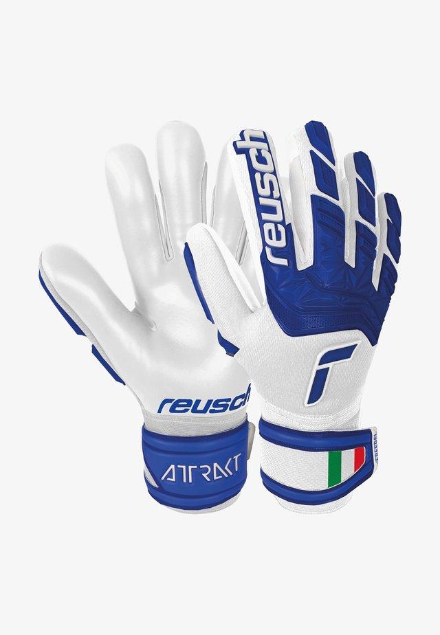 Goalkeeping gloves - white / deep blue