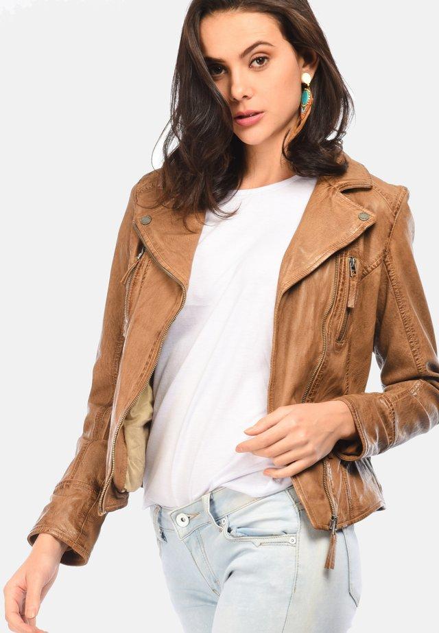 CAMERA - Leather jacket - camel