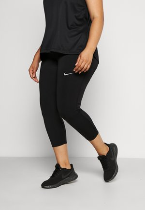 FAST CROP PLUS - Leggings - black/reflective silver