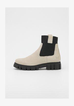 SAURA - Platform ankle boots - morat/off white/black