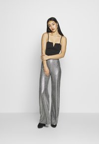 Club L London - TEXTURED SPARKLE HIGH WAIST TROUSERS - Trousers - silver - 1