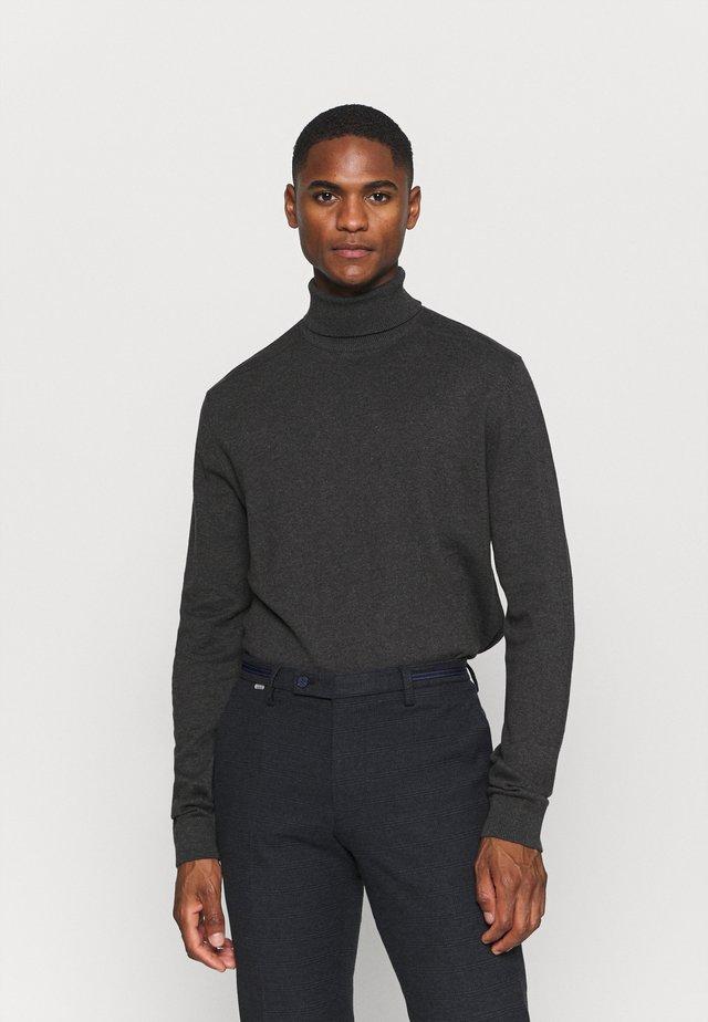 SLHBERG ROLL NECK - Stickad tröja - antracit melange
