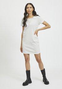 Vila - VITINNY - Jersey dress - snow white/total eclipse - 1