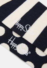 Happy Socks - BIG DOT STRIPE LOW SOCK 2 PACK - Socks - dark blue/white - 1