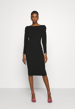 RUCHED SLEEVE BODYCON DRESS - Sukienka z dżerseju - black