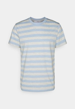 MAXWELL ONECK TEE - Print T-shirt - light blue/melange