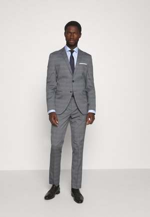 SLHSLIM-NAS GREY CHECK SUIT - Anzug - grey/blue/white