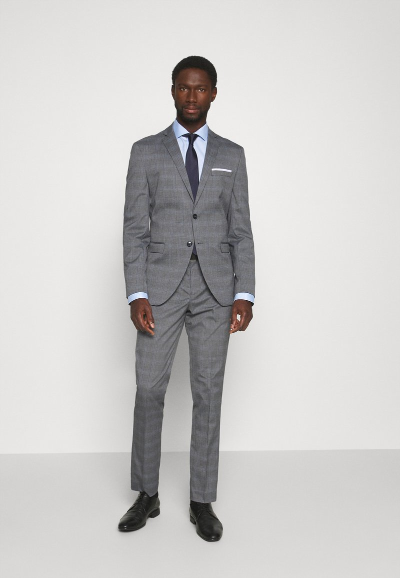 Selected Homme - SLHSLIM-NAS GREY CHECK SUIT - Suit - grey/blue/white