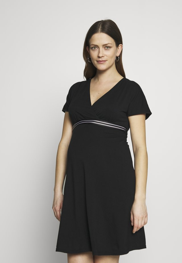NURSING WRAP DRESS - Žerzejové šaty - black