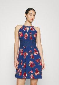 Vila - VIMILINA FLOWER DRESS - Cocktail dress / Party dress - mazarine blue/aya - 0