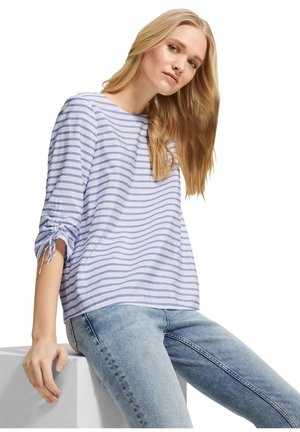 Blouse - powder blue woven stripes
