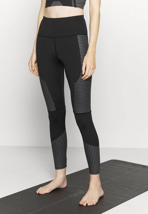 TONAL PRINT DETAIL - Leggings - black/grey