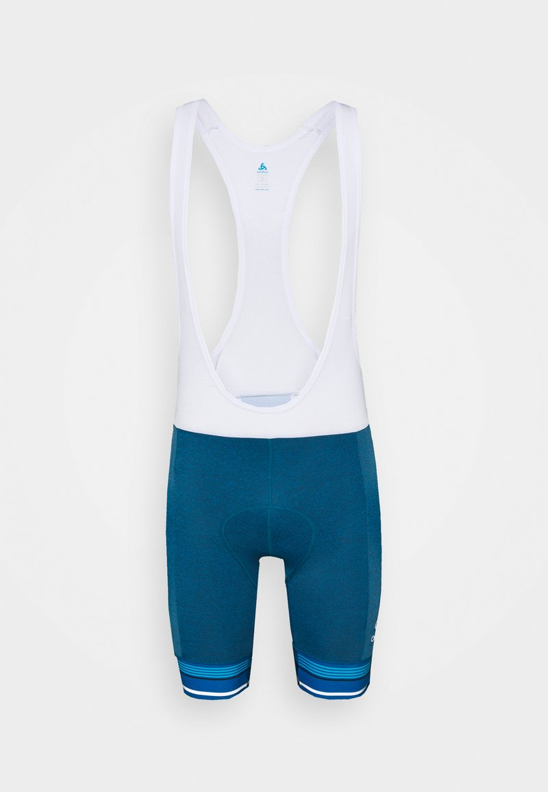 ODLO - SHORT SUSPENDERS ZEROWEIGHT CERAMICOOL PRO - Leggings - mykonos blue melange/white