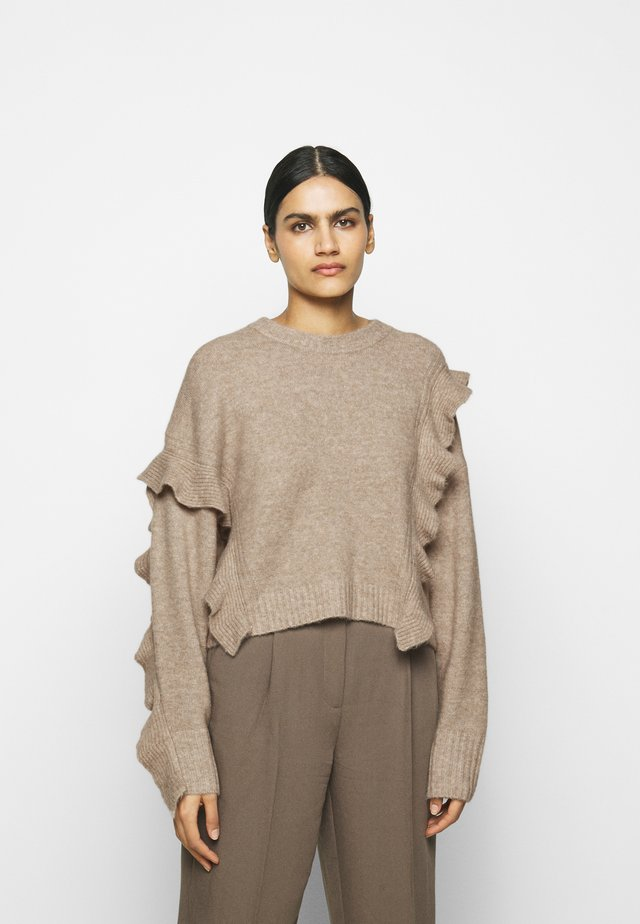 LOFTY CROPPED RUFFLE - Sweter - taupe