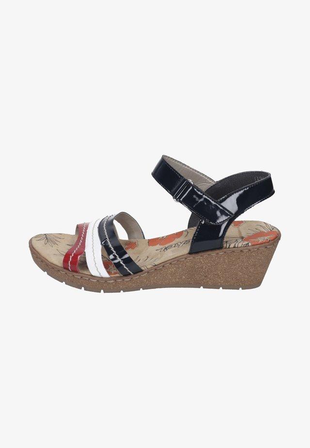 Sandalen met sleehak - red/white/marine