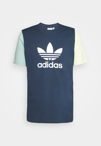 BLOCKED TREF UNISEX - T-shirt print - crew nacy/hazy green/ice yellow