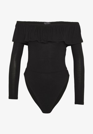 SLINKY BARDOT FRILL - Long sleeved top - black