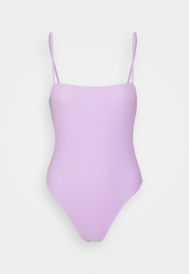 STRAIGHT NECK STRAPPY SWIMSUIT - Swimsuit - lilac