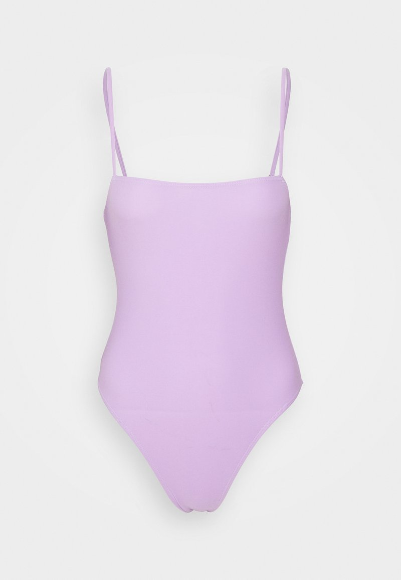Missguided - STRAIGHT NECK STRAPPY SWIMSUIT - Bañador - lilac