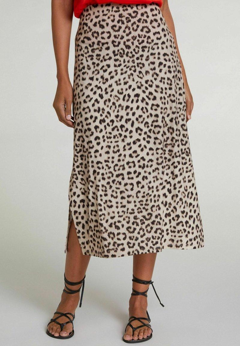 Oui - A-line skirt - light grey camel