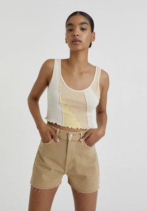 Shorts di jeans - mottled beige