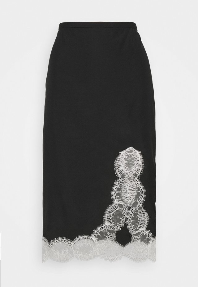 LACE DETAIL SLIP SKIRT - A-lijn rok - black