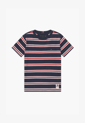 BOLD STRIPE TEE - T-shirt z nadrukiem - blue