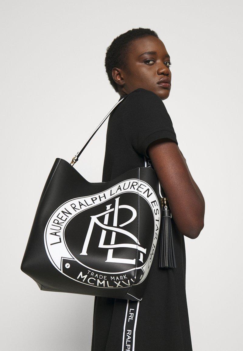 Lauren Ralph Lauren - ADLEY SHOULDER MEDIUM - Handbag - black/white