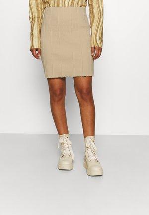 STRUCTURED SKIRT - Mini skirt - beige