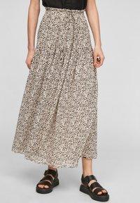 Q/S designed by - Maxi skirt - beige aop - 0