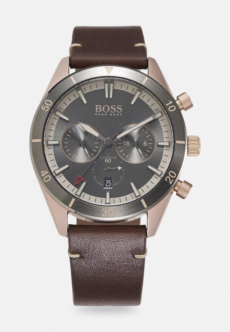 BOSS - SANTIAGO - Chronograph watch - brown/grey