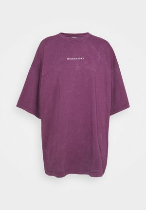 WASHED DROPPED SHOULDER TEE - Blůza - wine