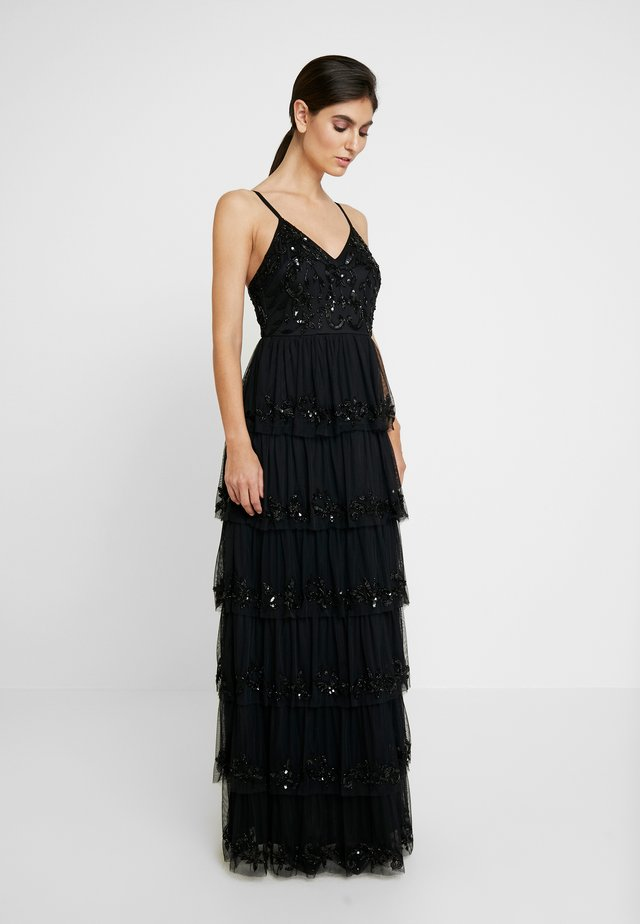 EMBELLISHED CAMI MAXI DRESS WITH TIERED SKIRT - Abito da sera - black