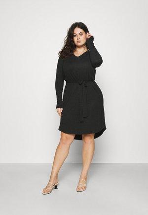 CARCARMA KNEE BELT DRESS - Vestito di maglina - black melange