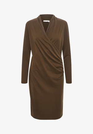 Jersey dress - coffee brown