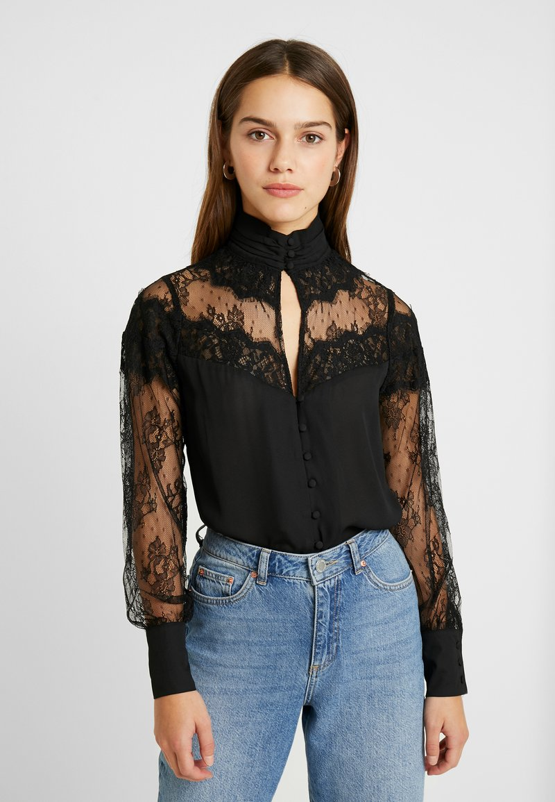Fashion Union Petite - OLEUM FASHION UNION INSERT BLOUSE - Button-down blouse - black