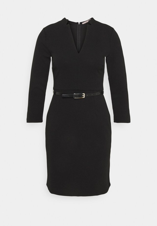 Quarter sleeves mini bodycon dress with belt - Etuikleid - black