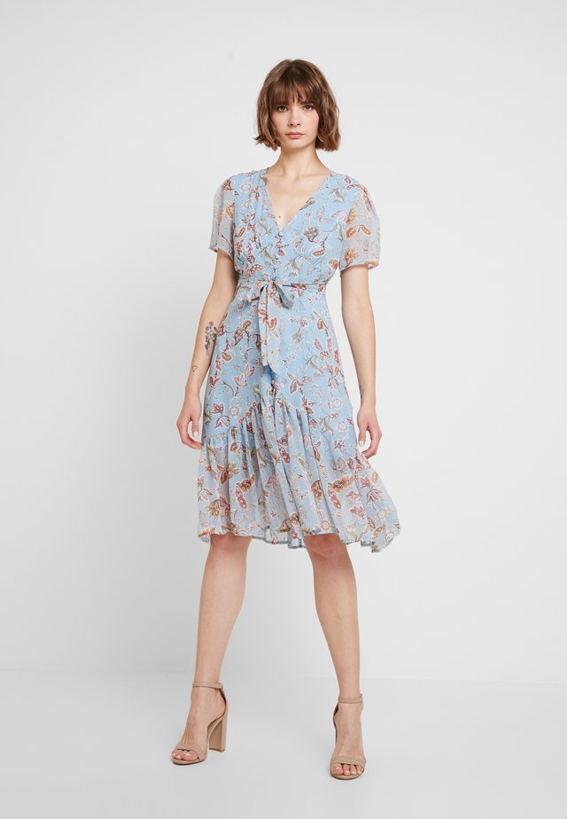 FLORAL MIDI DRESS - Vestido camisero - blue