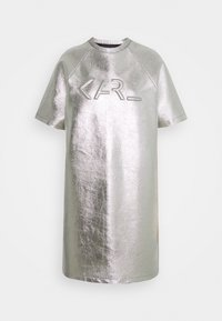 KARL LAGERFELD - COATED LOGO DRESS - Day dress - silver - 0