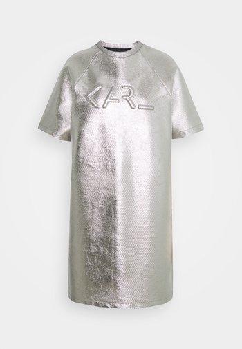 COATED LOGO DRESS - Day dress - silver