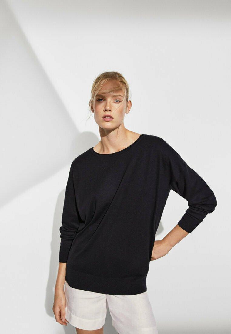 Massimo Dutti - MIT FLEDERMAUSÄRMELN - Sweatshirt - black